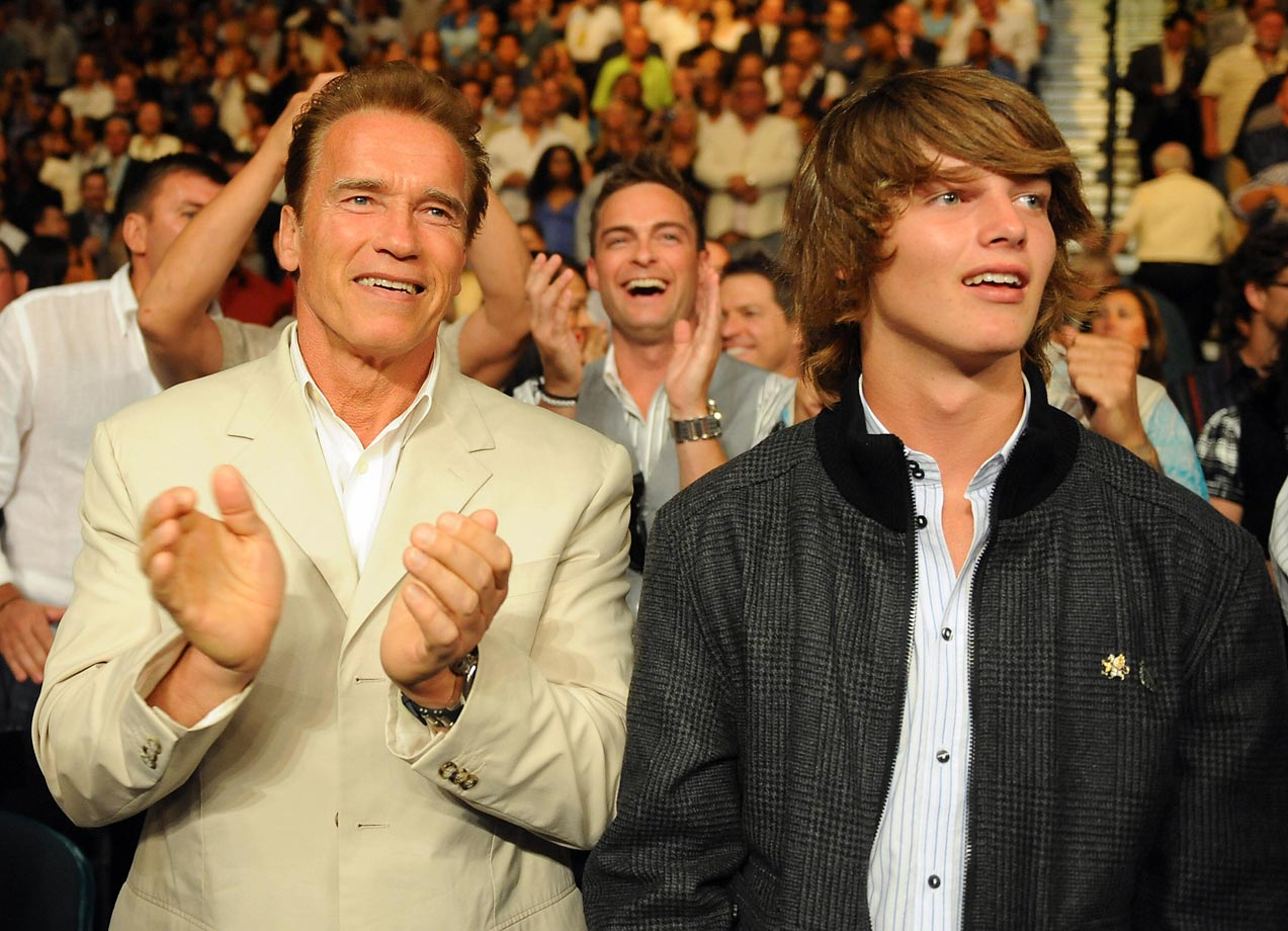 The then-California governor and his son Patrick at Floyd Mayweather's win over Juan Manuel Marquez.
