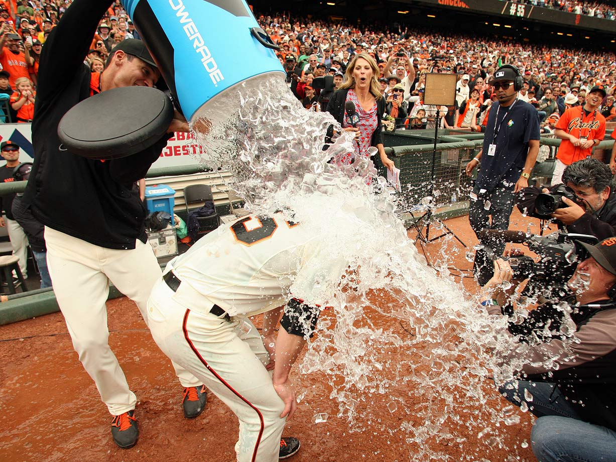 Tim Lincecum is doused by a teammate after throwing his second career no-hitter in the Giants 4-0 win over the Padres.