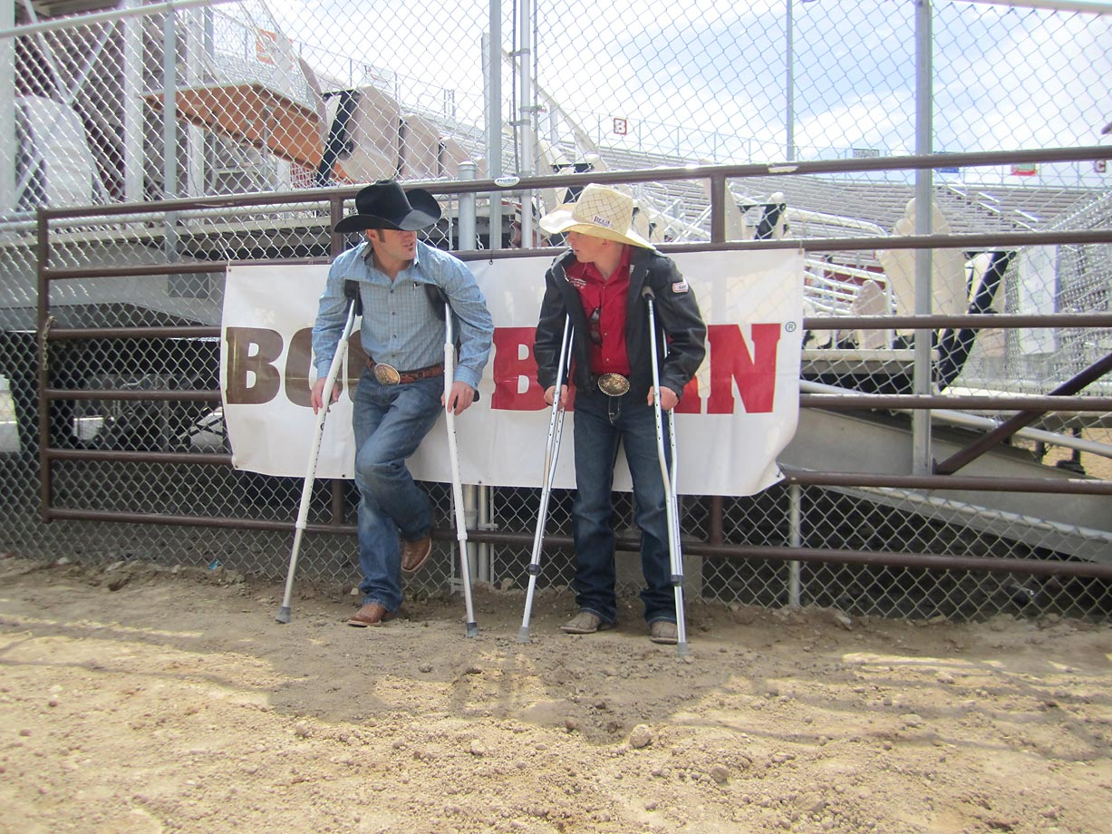 Professional Rodeo Cowboy Association bareback rider Kaycee Feild and SI High School Athlete of the Month Wyatt Johnson bond over their respective injuries. Feild had hip surgery three weeks ago and Wyatt was recovering from a deep bruise suffered last Sunday when a bucking horse fell on him.