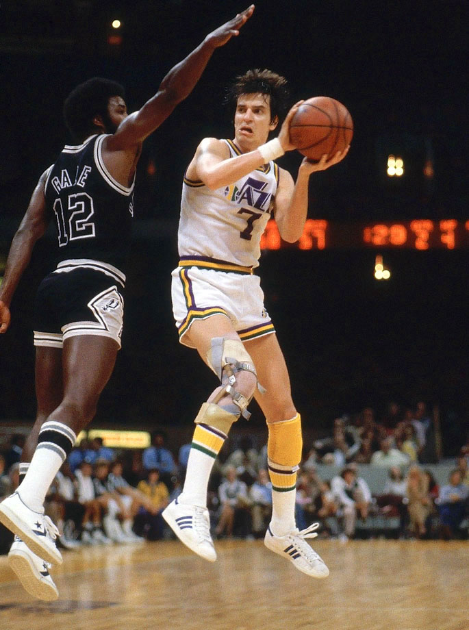 "One of the NBA's greatest scorers and the all-time leading scorer in NCAA history, ""Pistol Pete"" put up points in style. Ever the showman, Maravich brought a streetball-style game to the NBA. His flashiness helped build basketball's popularity in the city of New Orleans before the Jazz moved to Utah. — Runners-up: Kevin Johnson, Carmelo Anthony"