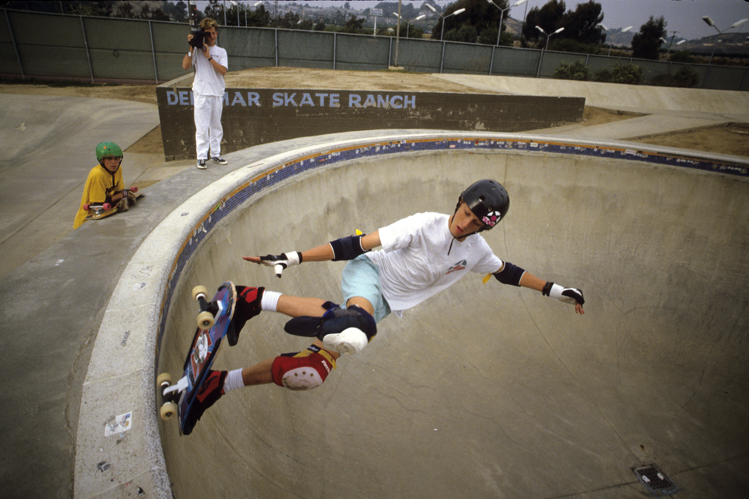 Tony Hawk in action at Del Mar Skate Ranch in 1986.