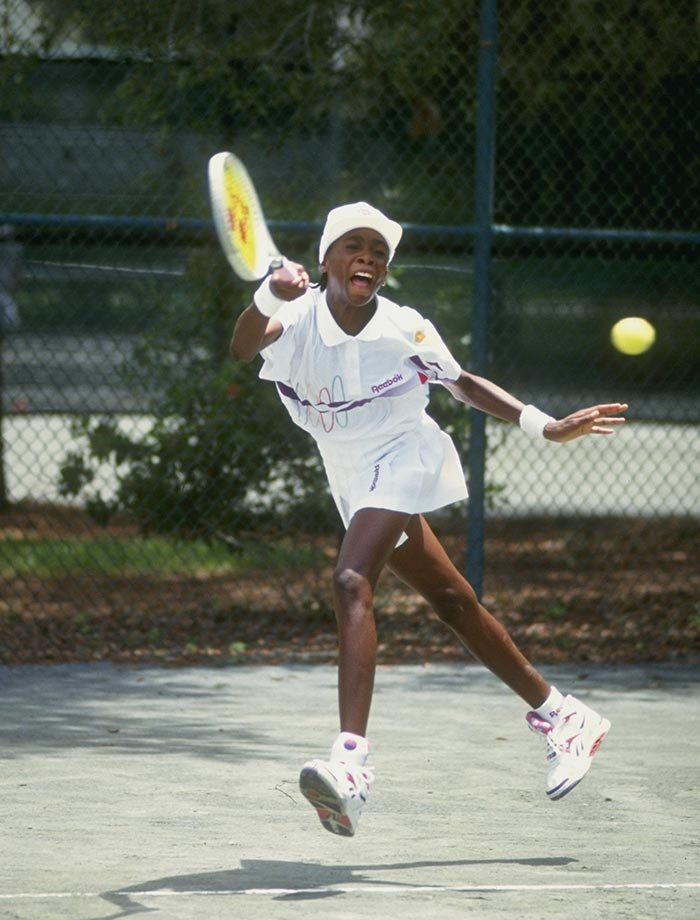 Venus was the first of the Williams sisters to make her mark on the tennis world. Armed with a staggering serve that topped 100 mph, Williams turned pro at 14 and went on to defeat 25-year-old and 59th ranked Shaun Stafford in her first pro contest, the Bank of the West Classic in 1994.
