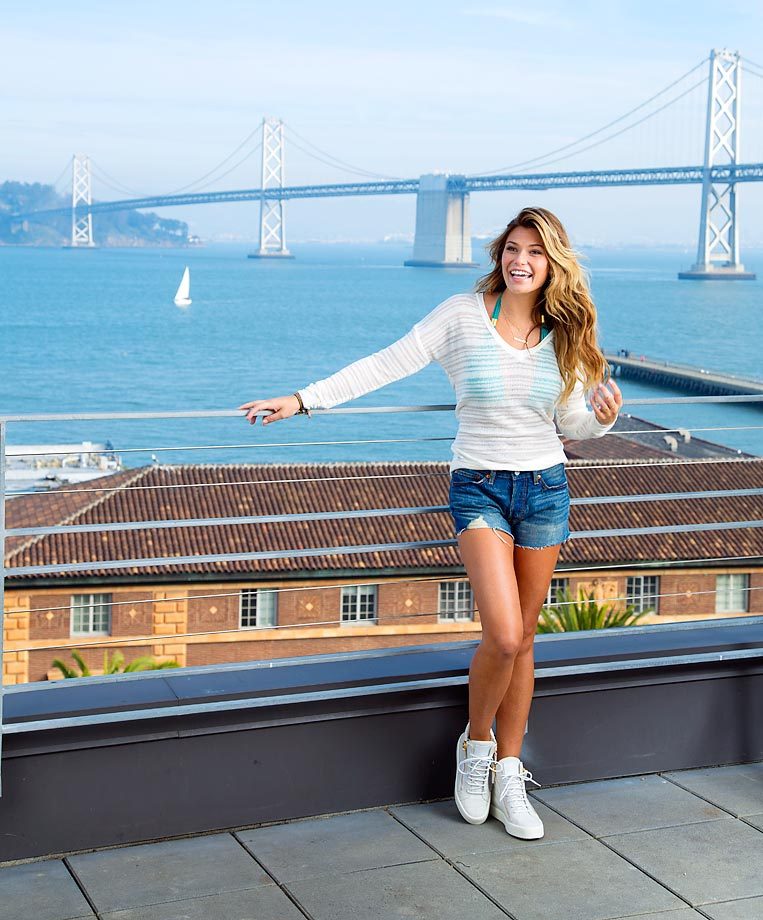 Samantha Hoopes catches some morning rays by the Bay.
