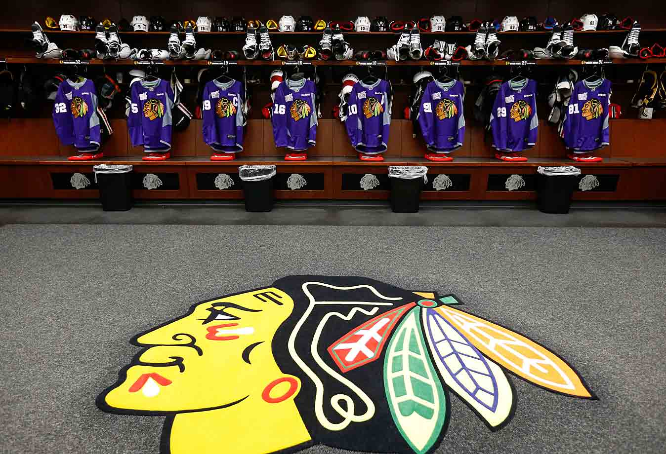 """The team's distinctive warm-up threads hang in honor of """"Hockey Fights Cancer Night"""" at Chicago's United Center on Oct. 26, 2014."""