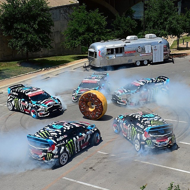 #TBT to last week when I did some donuts around a giant (fake) doughnut in Austin, TX for an X Games commercial. @phil_ellsworth created this awesome image for ESPN. That was a fun day at work! #doughnuthoonage #fauxnut