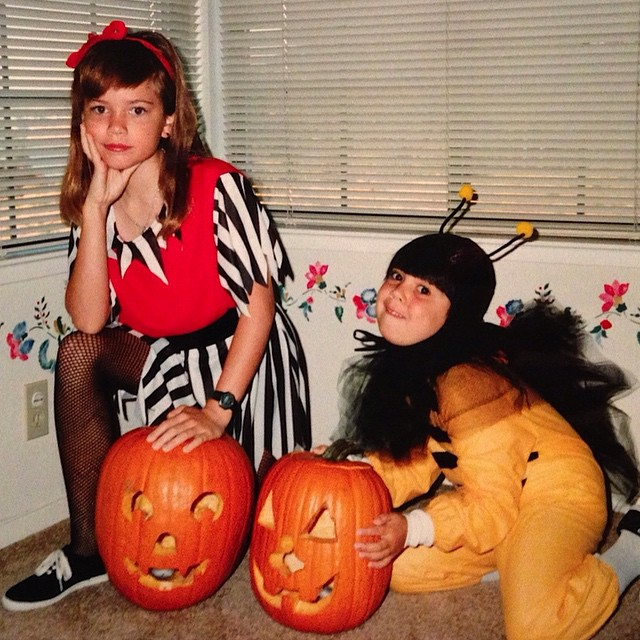 #TBT: when I was a too cool pirate and when @meganccoughlin was an awkward bee. This picture never fails to make me laugh.