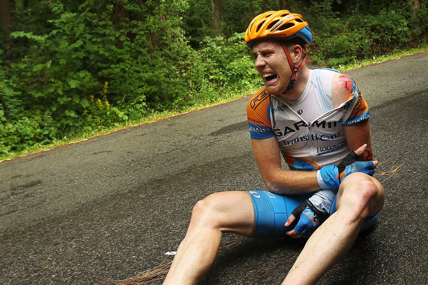 Sprinter Tyler Farrar was one of four Garmin-Transition riders to break bones in the 2010 Tour. In this Stage 2 crash in Spa, Belgium, the American sprained his left elbow, fractured his left wrist and suffered multiple other contusions and abrasions. He raced another week and a half before the pain forced him out of the Tour.