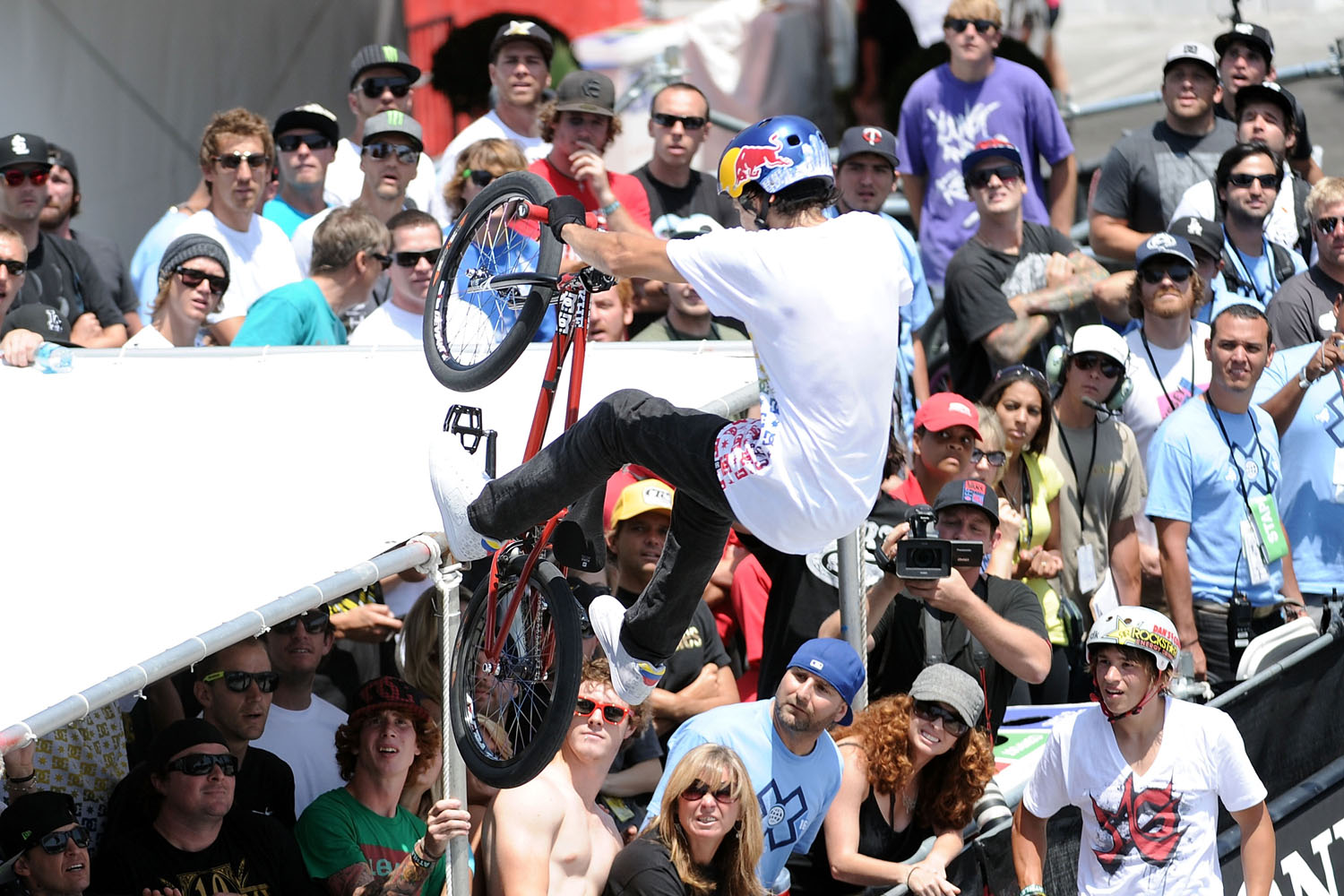 Daniel Dhers surprises fans as he competes for a gold medal in the BMX Freestyle Park final during X Games 16 at the Event Deck LA Live on July 31, 2010 in Los Angeles, California.