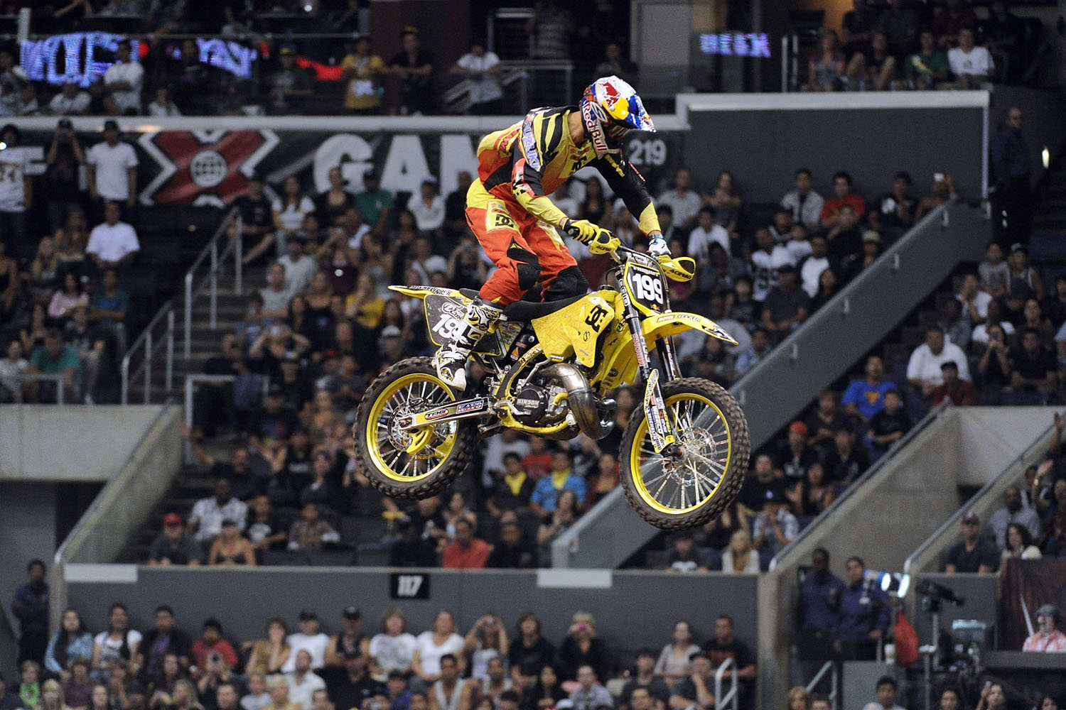Travis Pastrana competes for gold in the Moto X Speed and Style Final during X Games 16 at Staples Center on August 1, 2010 in Los Angeles, California.