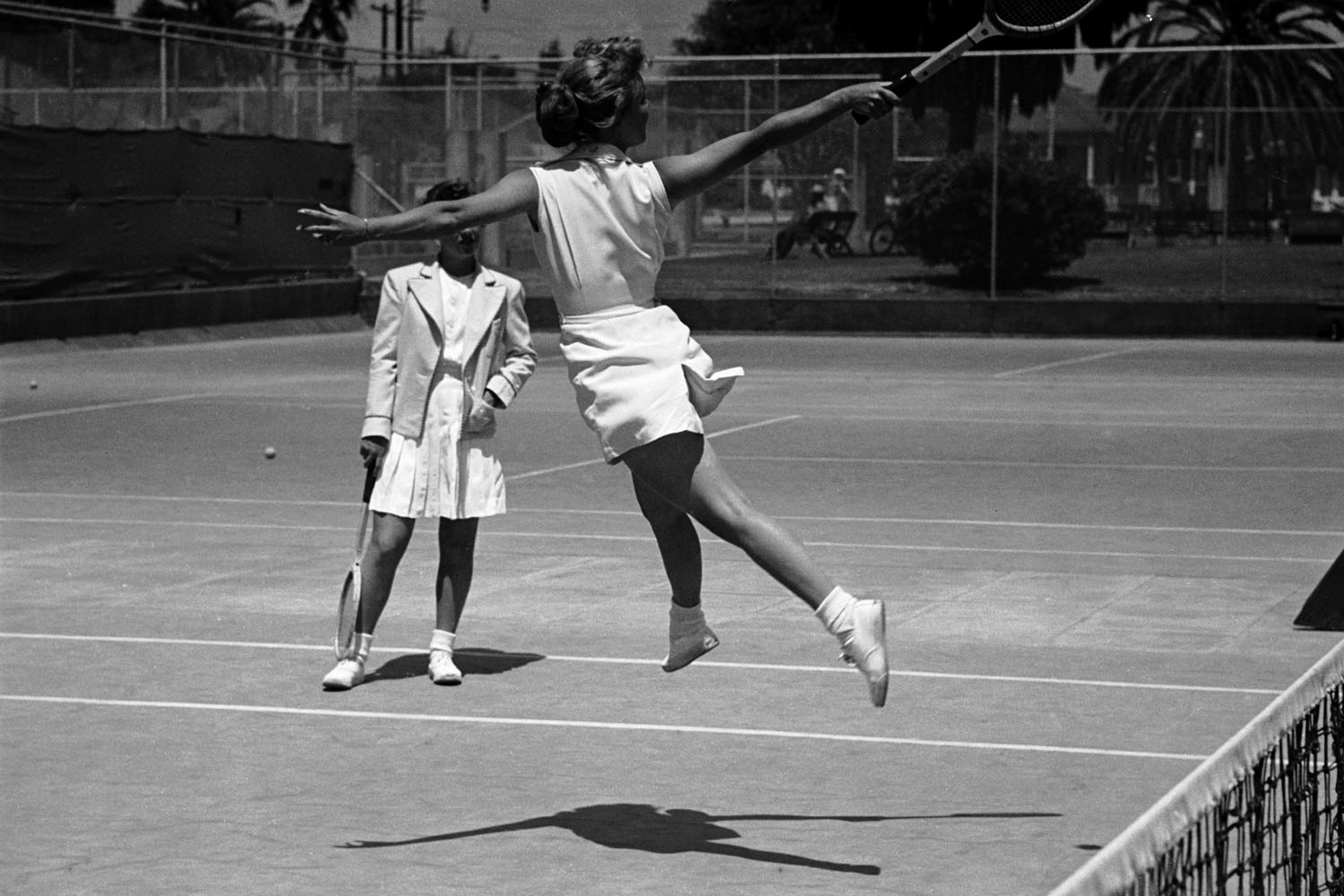 A group of professional women training for a tennis competition in Santa Monica, California in June, 1950.