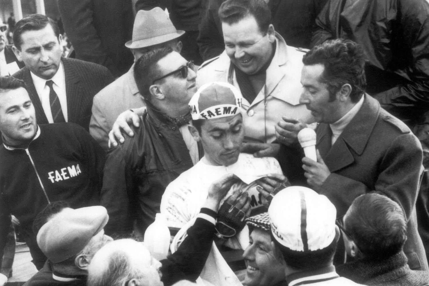 "Eddie (the Cannibal) Mercxk, a son of Belgium and probably the greatest rider, ever (11 grand tours, 19 ""monuments"" among scores of other wins), outsprinted Keraan Van Springel to win Paris-Roubaix in '68."