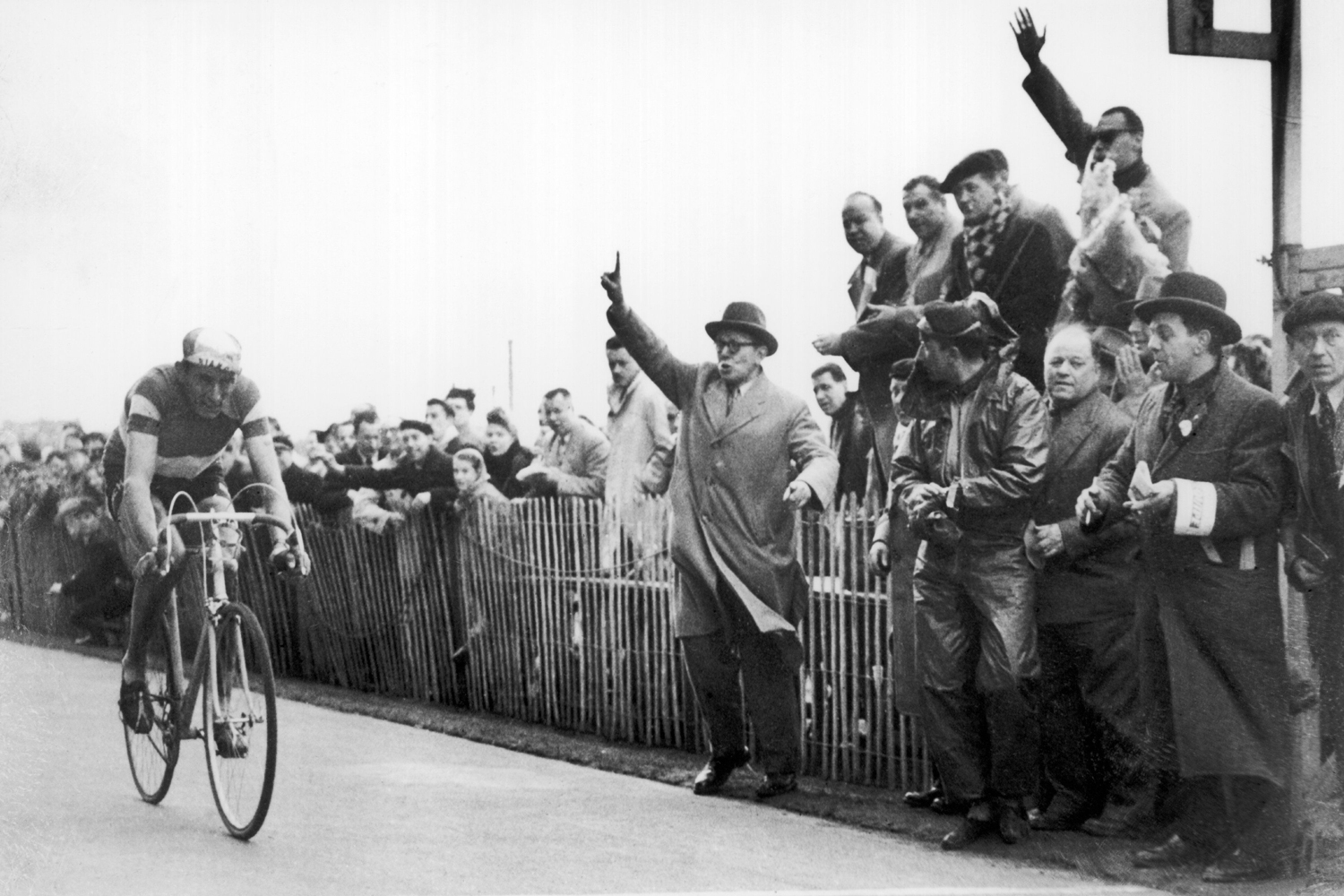 Il Campionissimo, a champion of champions, Coppi won his first race at the age of 15. His reward: 20 lire and a salami sandwich. Despite a career interrupted by WWII, Coppi won five grand tours and nine Monuments, including Paris-Roubaix, in 1950.