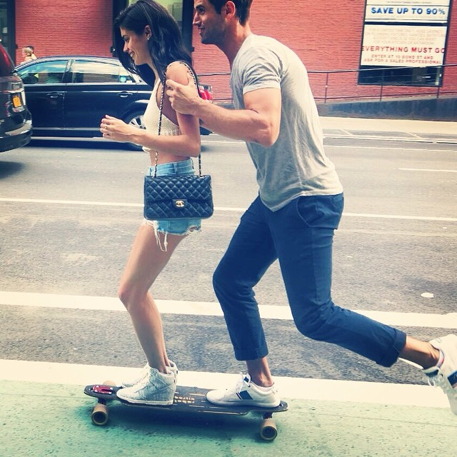 A new way to skateboard in NYC work work @brycethompson8
