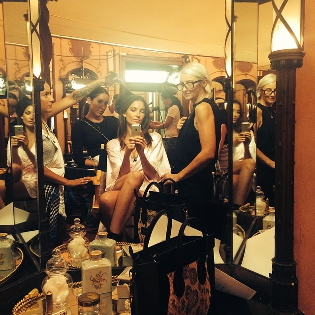 Glam Team getting me ready for the @VictoriasSecret Fashion Show Opening Scenes emoji @JenAtkinHair @LisaStoreyMakeUp