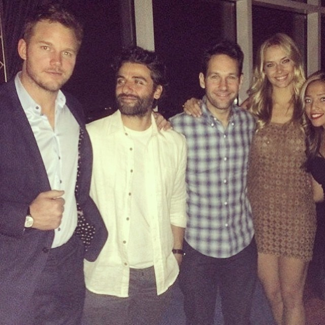 @hferguson1313 cozies up to #Paul Rudd and #ChrisPratt last night at the #GuardiansofGalaxy screening #regram #HannahFerguson #movies #screening #celebrities #trumpmodels