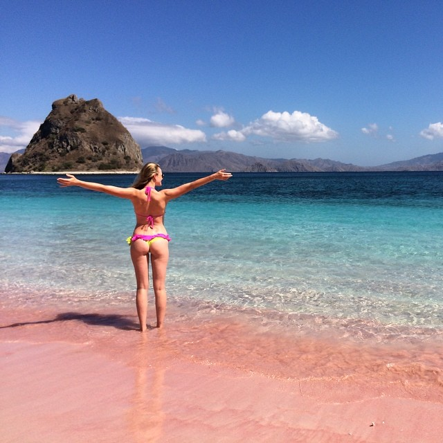 The most beautiful beach I have ever seen! Pink sands and turquoise water of Padar #indonesia