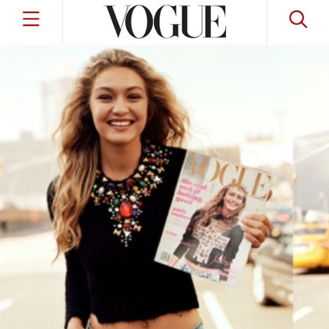 new day, new dawn. #IMGigi (@gigihadid) introduces the NEW @voguemagazine.com w/ a nod + a #WednesdayWink to AW's first cover starring doppelgänger #MichaelaBercu. emojiemojiemoji cc @carlynecerfdedudzeele #LaCroix