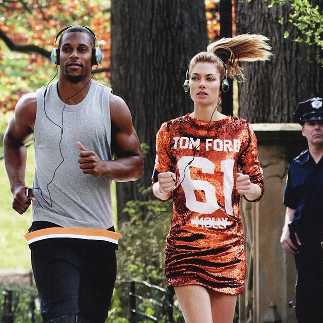 The end result .. Taking a casual jog through Central Park with Victor Cruz for @vanityfair @mariotestino @teamvic @jdiehlpoynter #asyoudo #bestdressedissue September2014