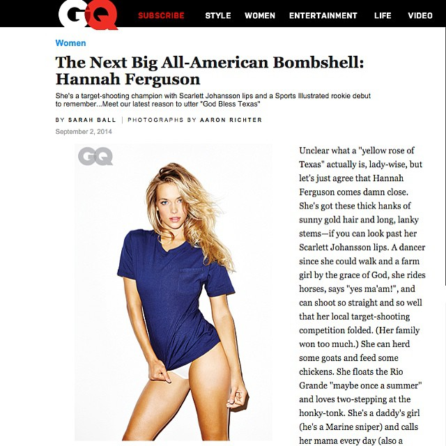 What better way to start the week! Check out @hferguson1313 on GQ.com #hannahFerguson #GQmag #model #swimsuitmodel #trumpmodels