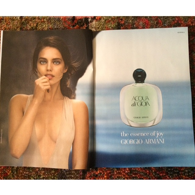 Spotted! My new @armani Aqua Di Gioia perfume ad in the November issue of @glamourmag that I shot in New Zealand @imgmodels