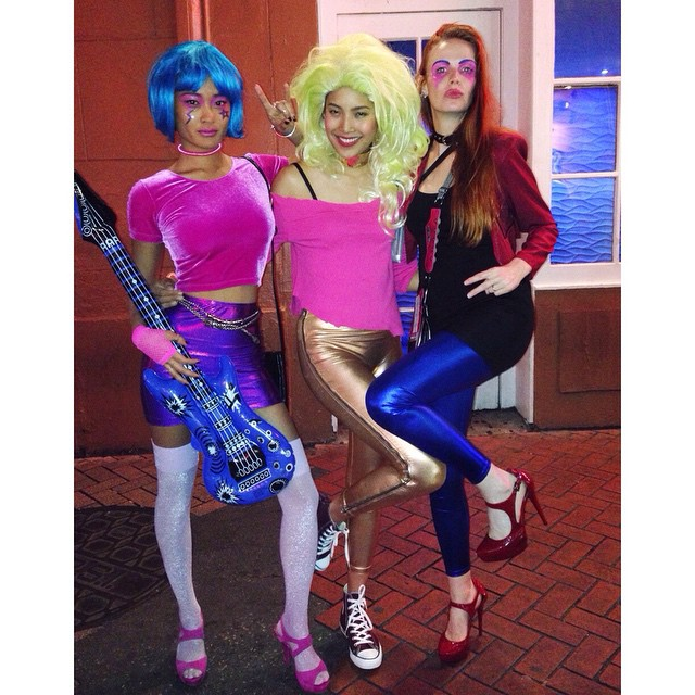 Aja, Pizzazz and Kimber do New Orleans #bourbonstreet #halloween #parade #neworleans #jemandtheholograms #aja #pizzazz #kimber #80sforever