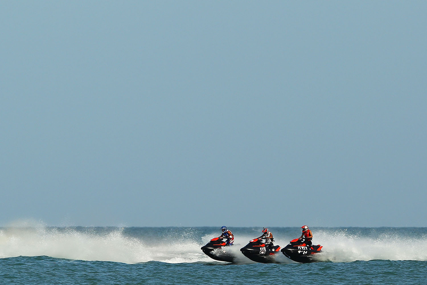 A general view of the race start in the Jetski final at Al-Musannah Sports City during day eight of the 2nd Asian Beach Games Muscat in Muscat, Oman.