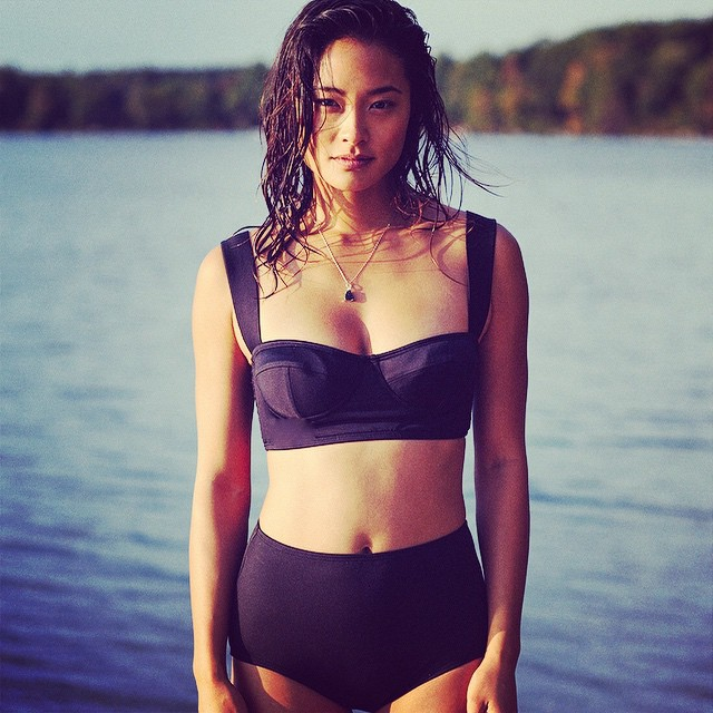 How gorgeous..#jarahmariano in #katespade suit on www.dianesmithswimalamode.com