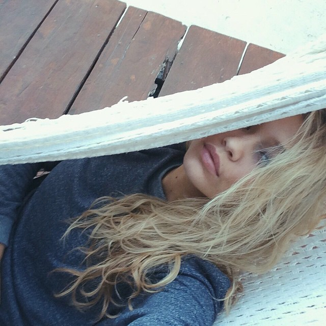 Not much that's nicer than a hammock with a beach view after a long day of shooting... lucky girl :)
