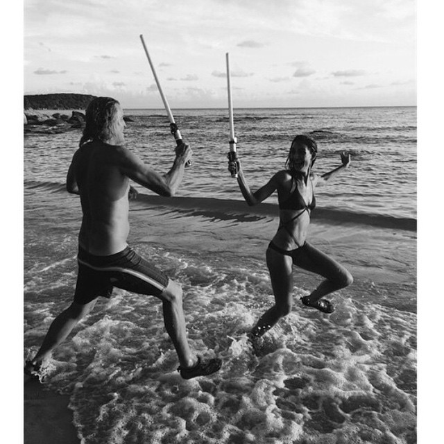 Jedi battle with @NomadRJ #MayTheForceBeWithYouRussell #SomethingBigIsComing #FunOnSet #YesImWearingWaterShoes