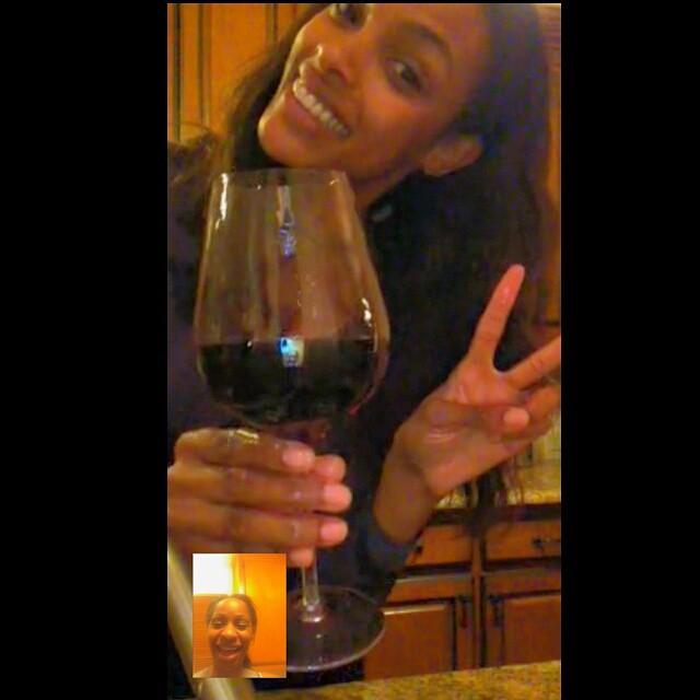 An early toast with my bestie @lylieta_mua while I make dinner for my love emojiemoji