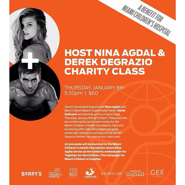 Guys im doing a charity class THIS thursday with @barrysbootcamp and @derekdegrazio benefitting @miamichildrenshospital its gonna be sweaty and fun, i promise! Hope to see u there. Sign up http://www.barrysbootcamp.com/