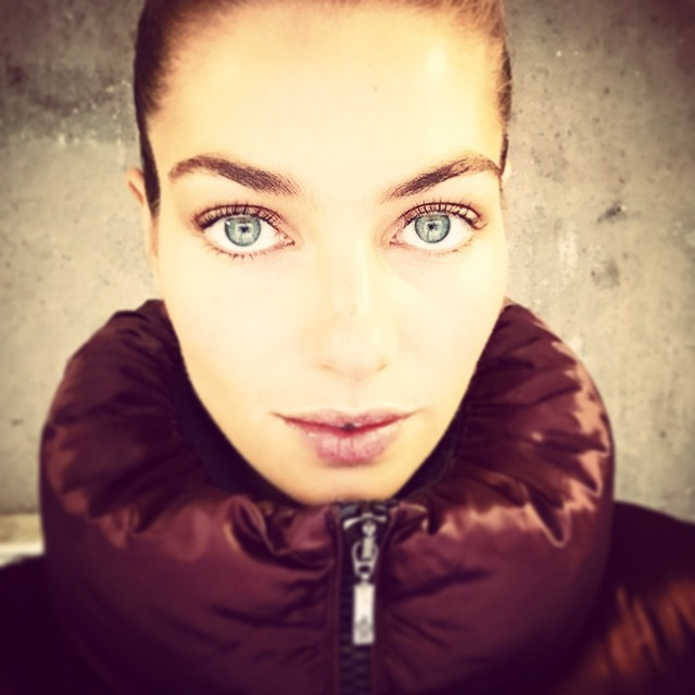 Good morning selfie from Stockholm hair and make up done and ready to get active with @hm this am! Keeping warm thanks to my favourite @moncler jacket #HMphotostudios #backtowork #2015