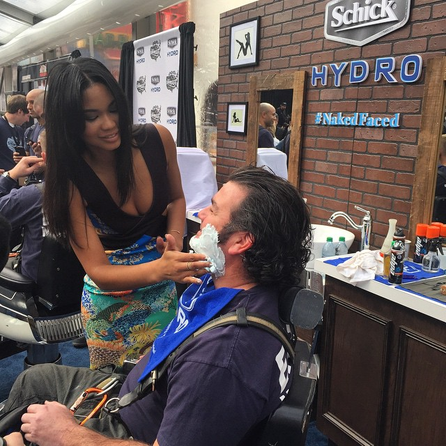 And sometimes, you get a shave from @chaneliman. And life is good. #SISwim #NakedFaced