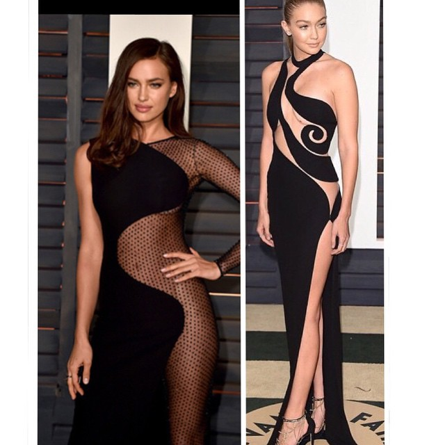 Check out #siswim models Irina Shayk and Gigi Hadid workin the #redcarpet at the #vanityfair #oscars party. #model #models #fashion #style #sexy #swim2015 #swimsuit #irinashayk #gigihadid