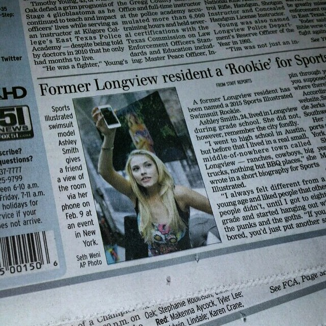 Totally in my hometowns #local #Longview #newspaper today! #LongviewJournal @si_swimsuit