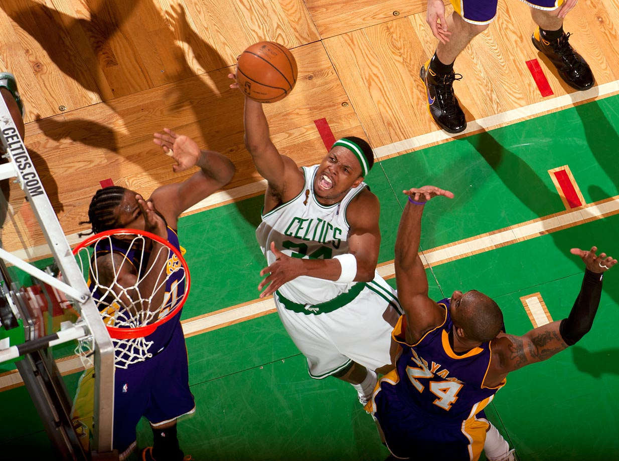 Averaging nearly 22 points per game, Finals MVP Paul Pierce paired with offseason acquisitions Kevin Garnett and Ray Allen to return the Celtics to their championship ways against the rival Lakers. The win marked the first title for each of the three stars.