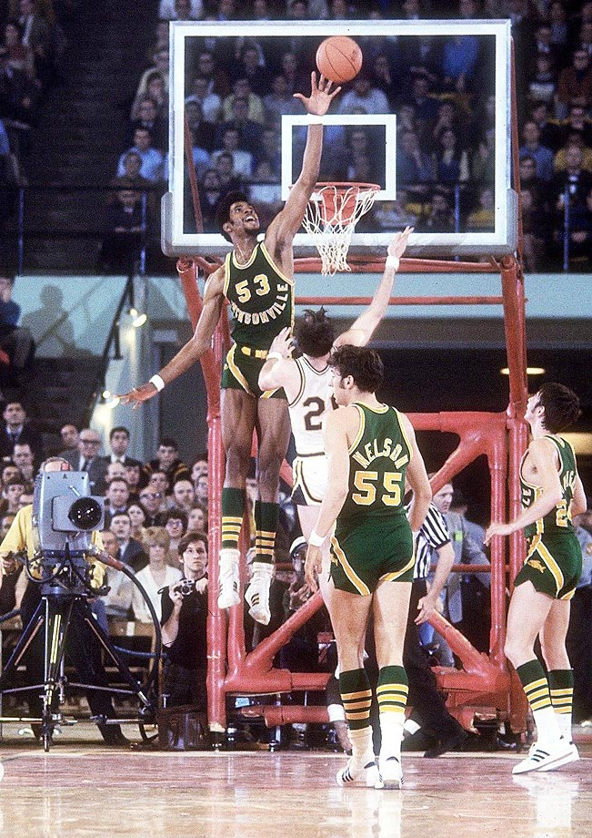 Artis Gilmore blocks a shot at a Final Four semifinal held in College Park, Md. Jacksonville defeated St. Bonaventure 91-83 to face UCLA in the championship game.