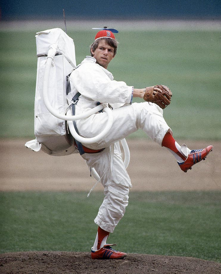 "Red Sox lefty Bill ""Spaceman"" Lee lives up to his nickname, throwing a pitch while wearing a space suit and a propeller beanie in 1978. Lee has clung to his eccentric persona in his retirement, recently releasing a wine called ""Spaceman Red,"" as well as a ""Spaceman Ale"" with the Magic Hat Brewing Company."