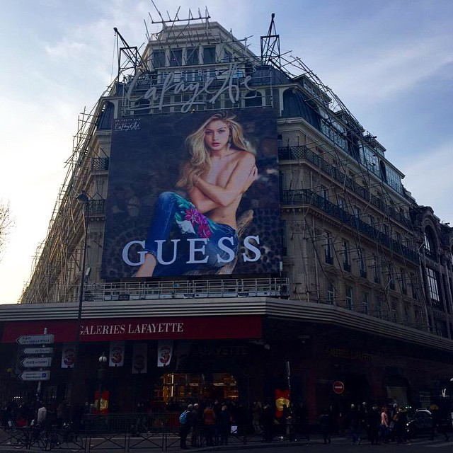Pretty crazy!!!! I'm back in the States, but @GUESS kept me very much in Paris!  @galerieslafayette