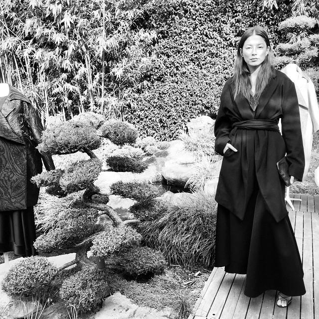 Feeling very Zen in this beautiful Garden at Kenzo House. Coat by @michaellosordo Dress by @elleryland