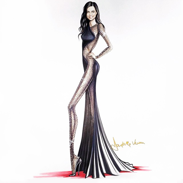 Thank u Donatella for the beautiful sketch! And @versace_official for my @vanityfair dress