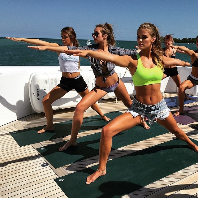 Ninja warrior life @mahammodels #yachtyoga @nypost emoji️ thank you @miamy for a great class!