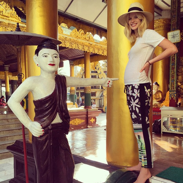 #traveltuesday from one of my all time favorite trips to Shwedagon Pagoda in Burma and my 3month old barely there bump #bumpandi #myanmar