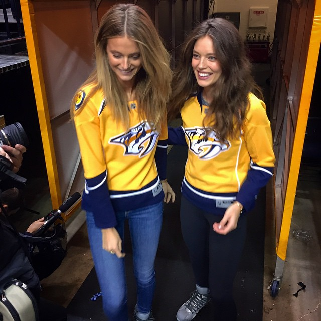 Celebrate @nhl playoffs with @emilydidonato1 and @katelynnebock Visit SwimDaily.com @si_swimsuit #Siswim #NHL