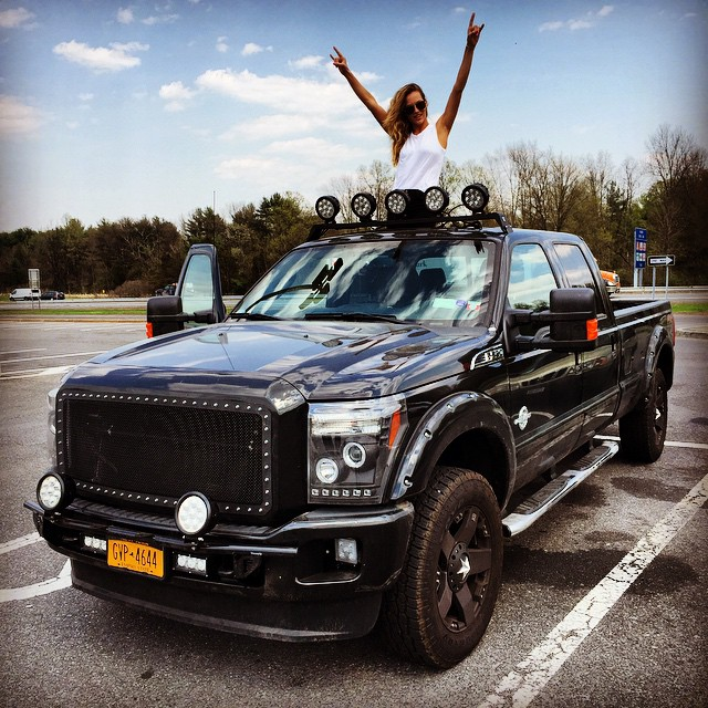 """My #MCM goes out to """"Boss"""" my sexy #Ford #F250 thanks @carlsjr and @hardees !!! @ford #truck #diesel #TexasGirl @dreamtruck #roadtrippin"""