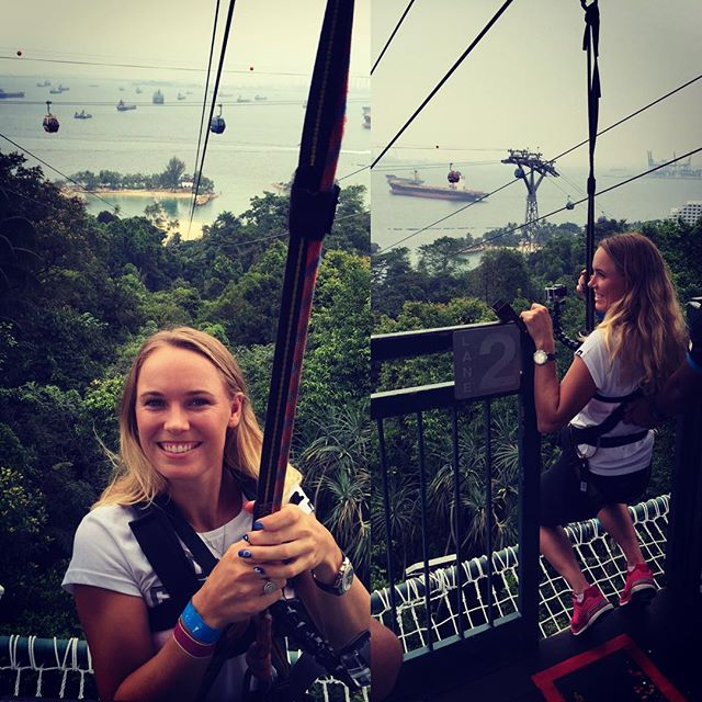Gearing up for an adrenaline-pumping ride down the flying fox on @sentosa_island #yoursingapore #megazip #WTAFinals