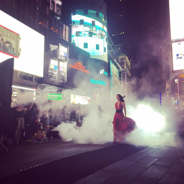 It wouldn't be @maybelline without a Times Square moment. I (love) shooting in NYC. makeup @maudlaceppe hair @kennalandny styling @charlesvarenne @cloheyyy @gabriellecleopatra @lotteelisa #maybellinegirls #BTS