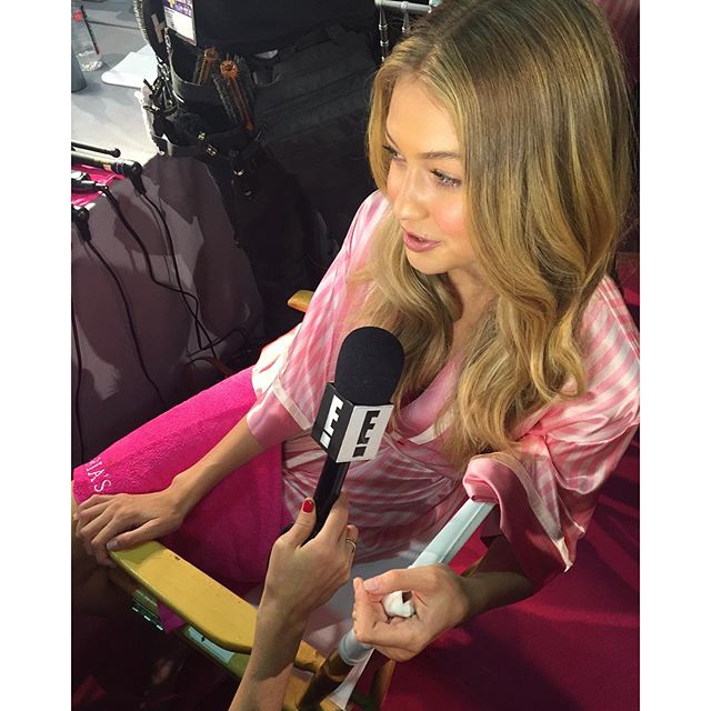 @gigihadid takes a quick break from #VSFashionShow prep to chat with @enews. The countdown is on - only a few hours to go!