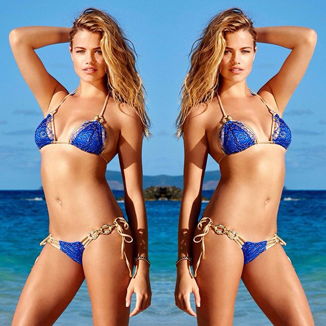 N E W N E W Own the shoreline in our all new 'Madagascar Glam' triangle top in Sapphire   #beachbunnyswim #babe #bikini