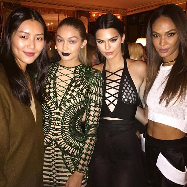 Causal. @GigiHadid + @JoanSmalls at tonight's @Instagram dinner. #PFW #IMGwomen | @evachen212
